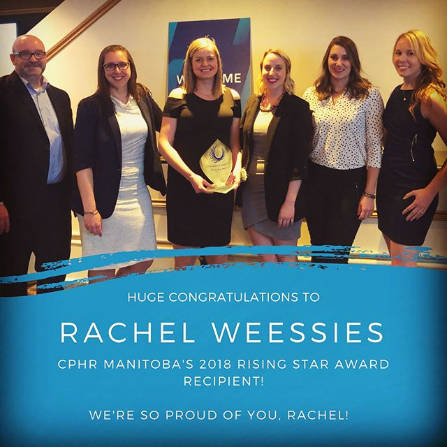 Rachel is a star to us every day, so it was outstanding to celebrate her as CPHR Manitoba's Rising Star Award recipient last night at the Met!  Now the secret is out, and everyone knows what we do! 🤩 Way to go, Rachel! 🙌 . . . #rachelrocks #congrats🎉 #risingstarawardwinner #wereproudofyou #winnipeg #winnipegbusiness #winnipegbiz #exchangedistrict #exchangebiz #exchangedistrictbiz #humanresources #humanresourcesmanagement #hrmanager #hrmanagement #hrmanagers #leaders #leadership #managers #employeeengagement #business #management #recruiting #recruitment #companyculture #hrlife #getstuffdone